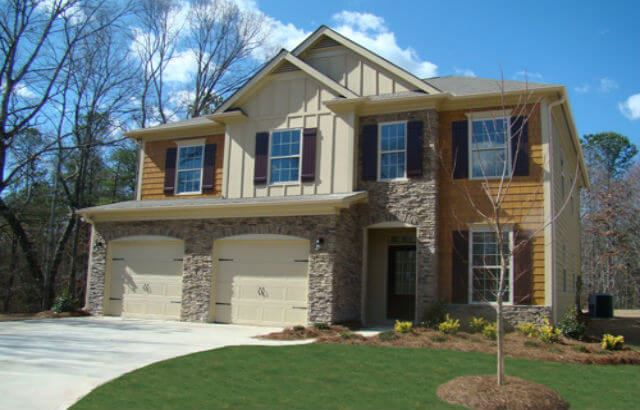 Two story model home by D.R. Horton in Sterling on the Lake