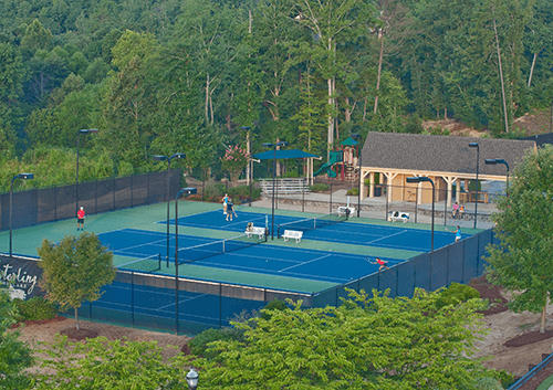 Aerial view of tennis court facilities in Sterling on the Lake.
