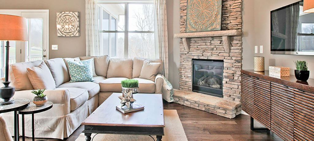 Great room with fireplace in D.R. Horton model home in Sterling on the Lake.