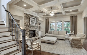 Tipton Homebuilders Model Home -  Living area and staircase at Sterling on the Lake located in The Alcove
