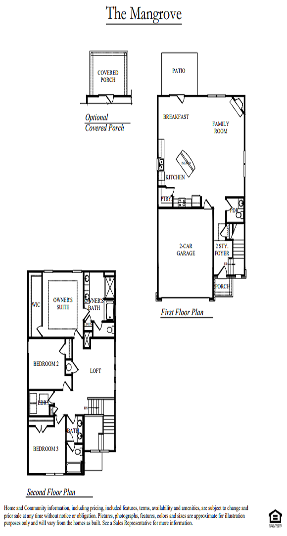 Black and white floorplan of DRH 4Q Mangrove home.