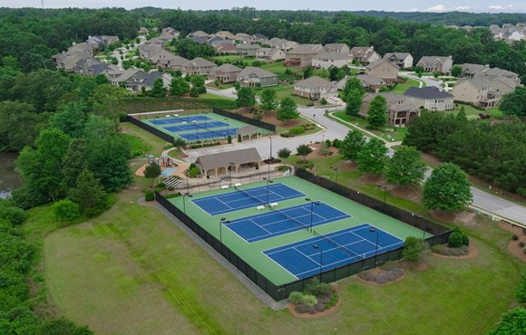 Drone view of the tennis courts.