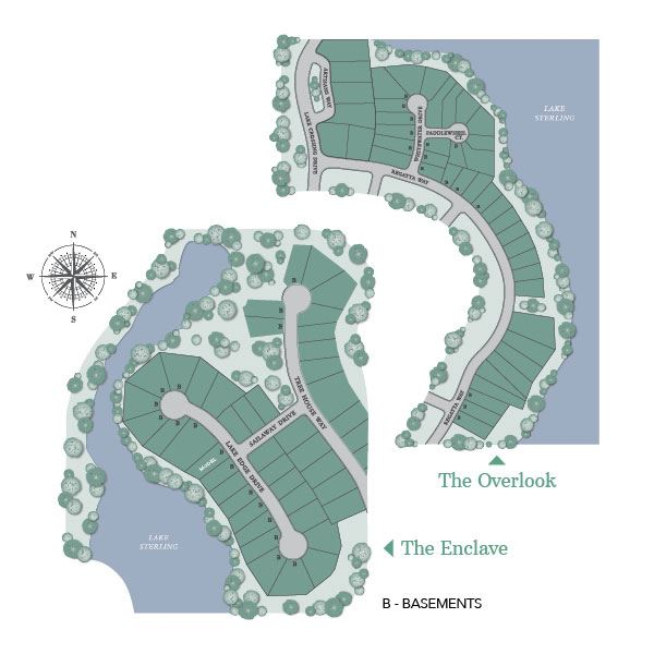 Site map of The Enclave and The Overlook, new homes in Sterling on the Lake.