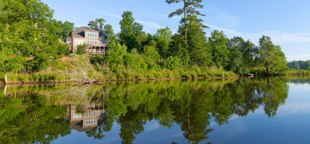 View of Harcrest Home overlooking the lake in Sterling on the Lake.