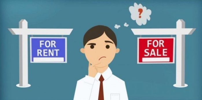 Graphic of an individual pondering whether to Rent or Purchase.