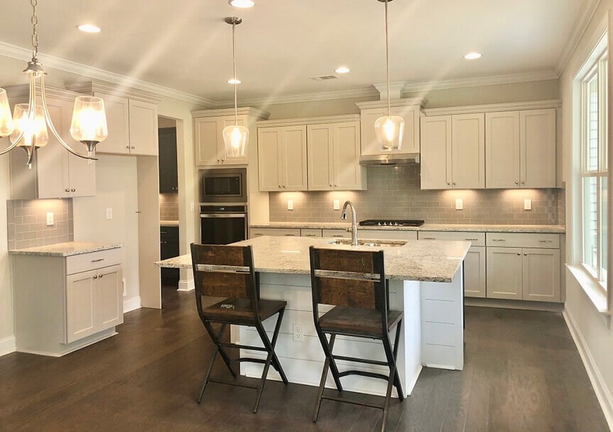 Vanderbilt Homes Coppola Model kitchen and kitchen island.