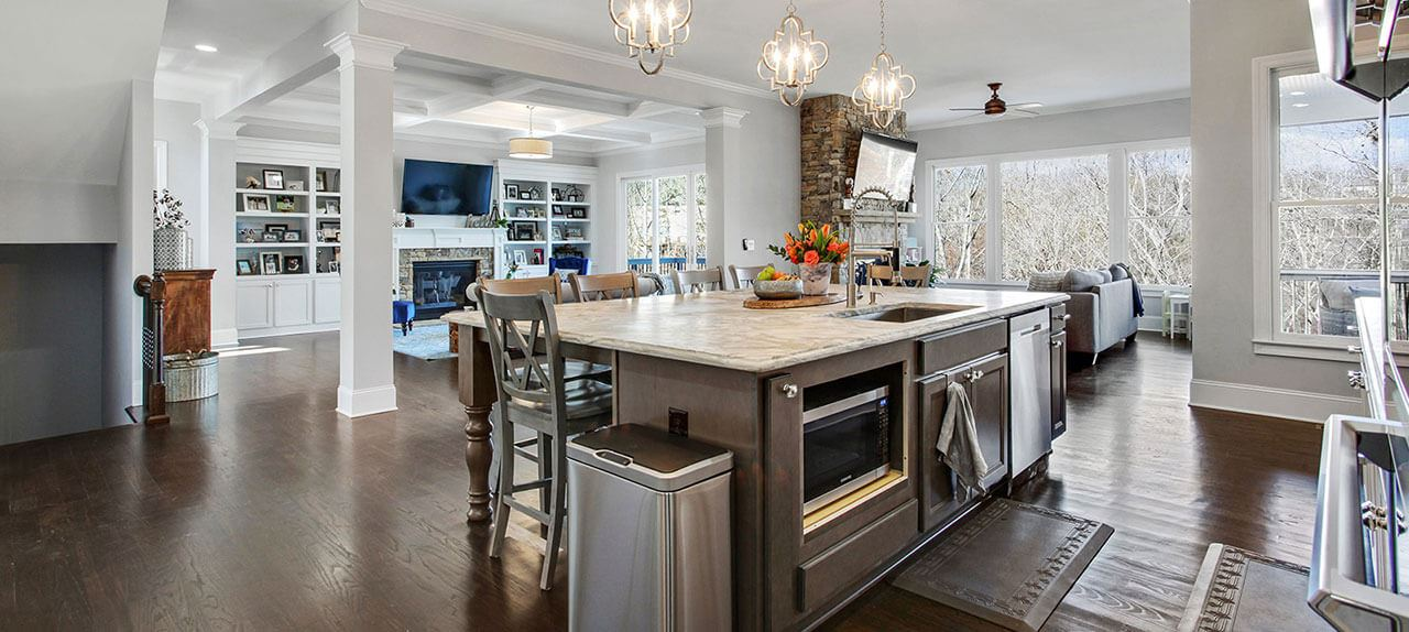 Spacious kitchen, great room in luxury home in Sterling on the Lake.