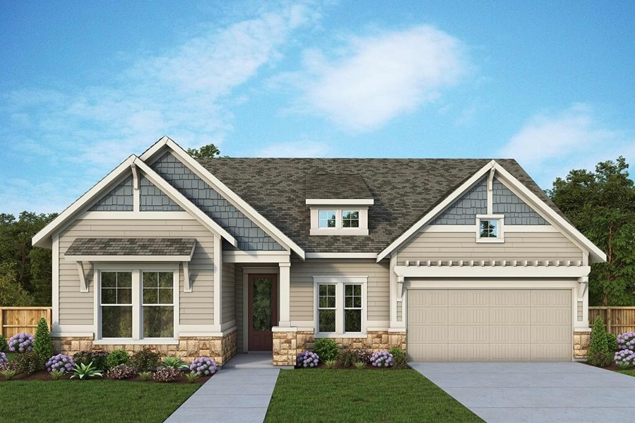 David Weekley Homes Henshaw floorplan Elevation A in The Retreat at Sterling on the Lake
