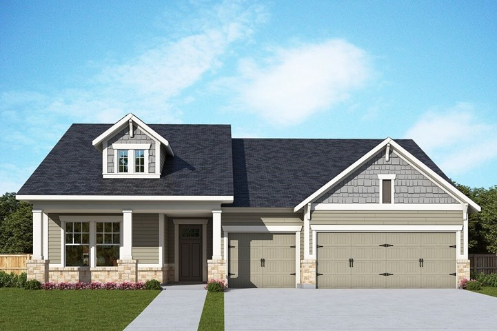 David Weekley Homes Meadowhill floorplan Elevation A in The Retreat at Sterling on the Lake